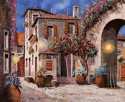 Dusk Wall Art - Painting - Tre Luci Al Crepuscolo by Guido Borelli