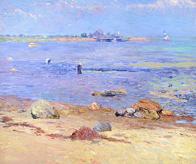 Shimmering Painting - Treading Clams At Wickford by William James Glackens