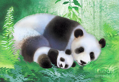 Driftwood Painting - Treasure Garden Pandas by Tracy Herrmann