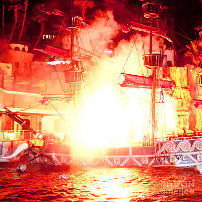 Pirate Ship Photograph - Treasure Island Explosion by Andy Smy