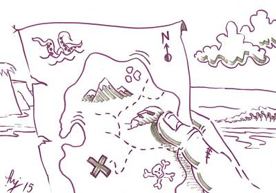 Drawing - Treasure Map Cartoon - Where Did I Bury It by Mike Jory