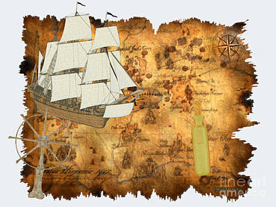 Navigation Digital Art - Treasure Map by Corey Ford