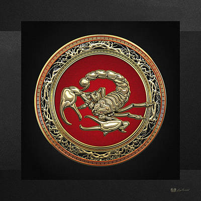 Digital Art - Treasure Trove - Sacred Golden Scorpion On Black by Serge Averbukh
