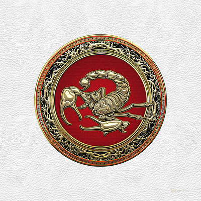 Digital Art - Treasure Trove - Sacred Golden Scorpion On White Lather by Serge Averbukh
