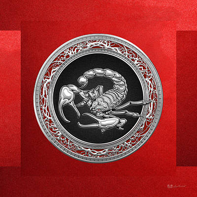 Digital Art - Treasure Trove - Sacred Silver Scorpion On Red by Serge Averbukh