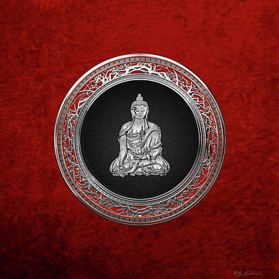 Digital Art - Treasure Trove - Silver Buddha On Red Velvet by Serge Averbukh