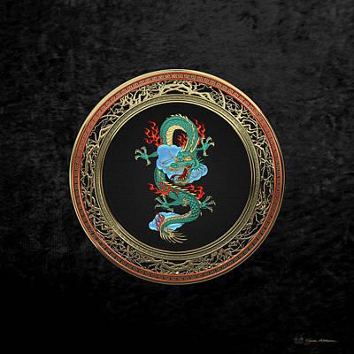 Digital Art - Treasure Trove - Turquoise Dragon Over Black Velvet by Serge Averbukh