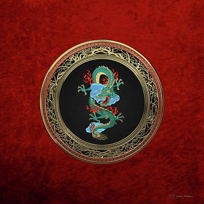 Digital Art - Treasure Trove - Turquoise Dragon Over Red Velvet by Serge Averbukh