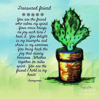 Mixed Media - Treasured Friends -  Anonymous by MaryLee Parker