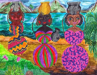 Tribal Women Drawing - Treasured Vessels Of Love by Stacey Torres
