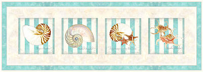 Caribbean Sea Painting - Treasures From The Sea - Nautilus Shell by Audrey Jeanne Roberts