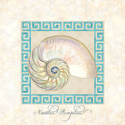 Caribbean Sea Painting - Treasures From The Sea - Nautilus Shell Interior by Audrey Jeanne Roberts