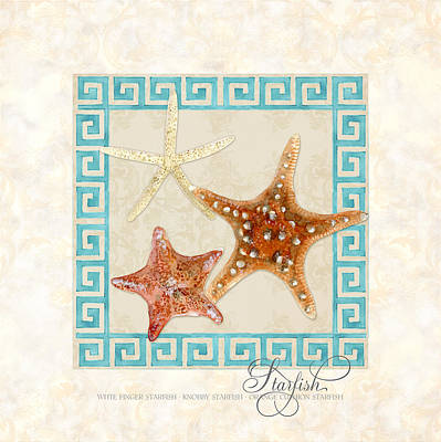 Rust Painting - Treasures From The Sea - Starfish Trio by Audrey Jeanne Roberts
