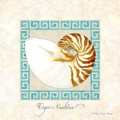 Rust Painting - Treasures From The Sea - Tiger Nautilus Shell by Audrey Jeanne Roberts