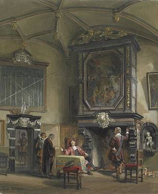 Treasury Painting - Treasury Hall, Ghent, London, By Louis Haghe. by Celestial Images