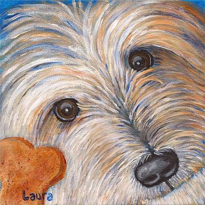 Dog Close-up Painting - Treat? by Laura Zoellner