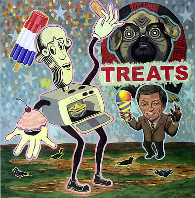 Juxtapose Painting - Treats by Rodger Ferris