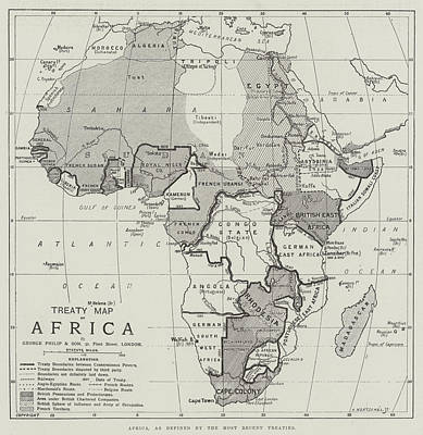 Charting Drawing - Treaty Map Of Africa by English School