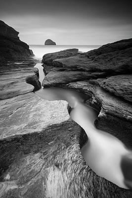 Photograph - Trebarwith Strand - Mono by Mark Leader