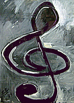 Non-objective Drawing - Treble Clef by Elio Lopez