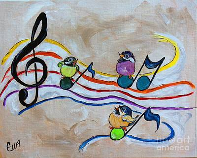 Music Paintings - Treble Clef Trio by Ella Kaye Dickey