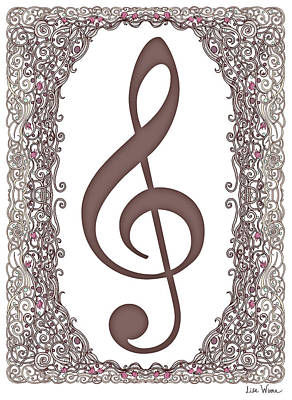 Digital Art - Treble Clef With Brown Border by Lise Winne