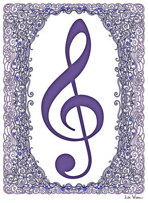 Digital Art - Treble Clef With Purple Border by Lise Winne