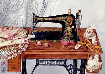 Sewing Room Painting - Tredle Sewing Machine by Carol VonBurnum