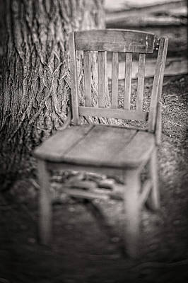 Photograph - Tree And Broken Wooden Chair In Bw by YoPedro