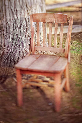 Photograph - Tree And Broken Wooden Chair by YoPedro