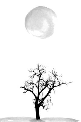 Moon Digital Art - Tree And Moon by Nordic Print Studio