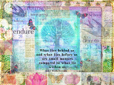 Brave Mixed Media - Tree And Nature Art Collage With Emerson Inspirational Quote by Sansa Starlight
