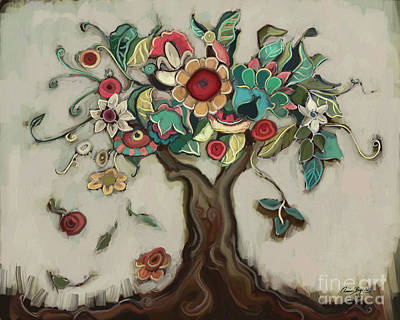 Folk Art Flowers Painting - Tree And Plenty by Carrie Joy Byrnes