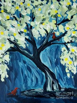 Painting - Tree And Red Birds by Maria Langgle