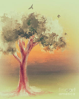 Digital Art - Tree At Dawn by Lois Bryan