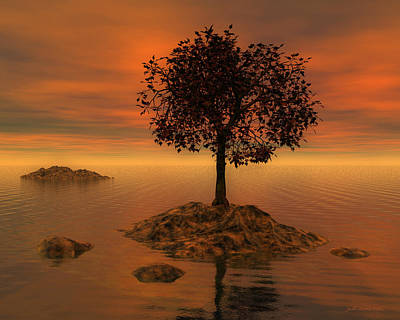Digital Art - Tree At Sunset by Judi Suni Hall