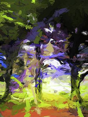 Digital Art - Tree Avenue Lavender Lilac Green by Jackie VanO