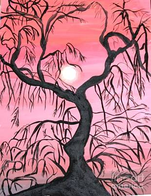Painting - Tree Beneath Moon by Victoria Hasenauer