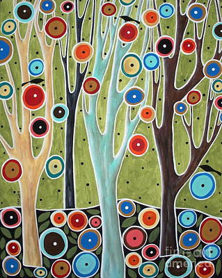 Primitive Art Pastel - Tree Blooms And Birds by Karla Gerard