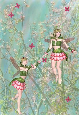 Fantasy Tree Mixed Media - Tree Blossom Fairies by Rosalie Scanlon