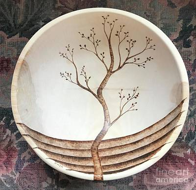 Pyrography - Tree Bowl by Adam Owen