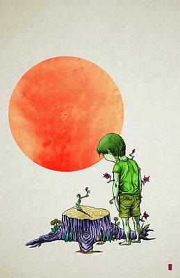 Tree-boy Art Print