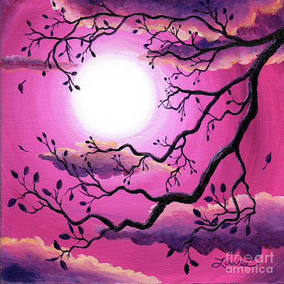 Painting - Tree Branch In Pink Moonlight by Laura Iverson