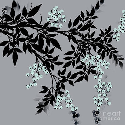 Painting - Tree Branches Leaves And Berries Iblack And Gray by Saundra Myles