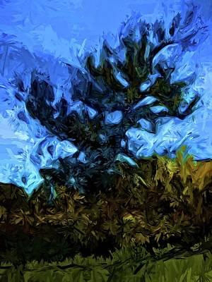 Digital Art - Tree Breaks The Blue Sky by Jackie VanO