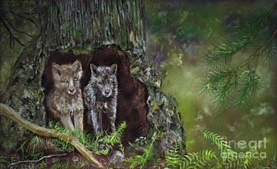 Tree Burl Wolf Pups Art Print