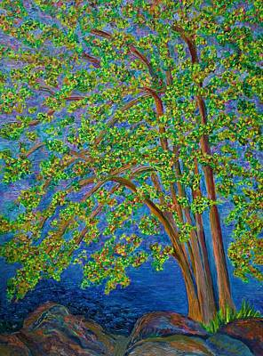 Painting - Tree By Long Lake In Maine by Polly Castor