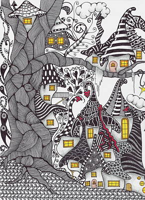 Tangle Drawing - Tree City by Cathy Nestroyl