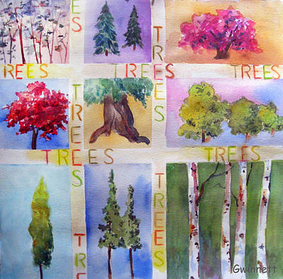 Painting - Tree Collage  by Kathleen  Gwinnett