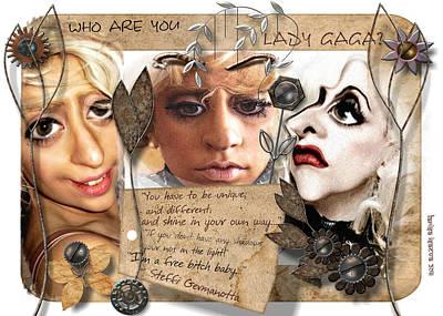 Digital Art - Tree Faces Of Lady Gaga by Larisa Isaeva
